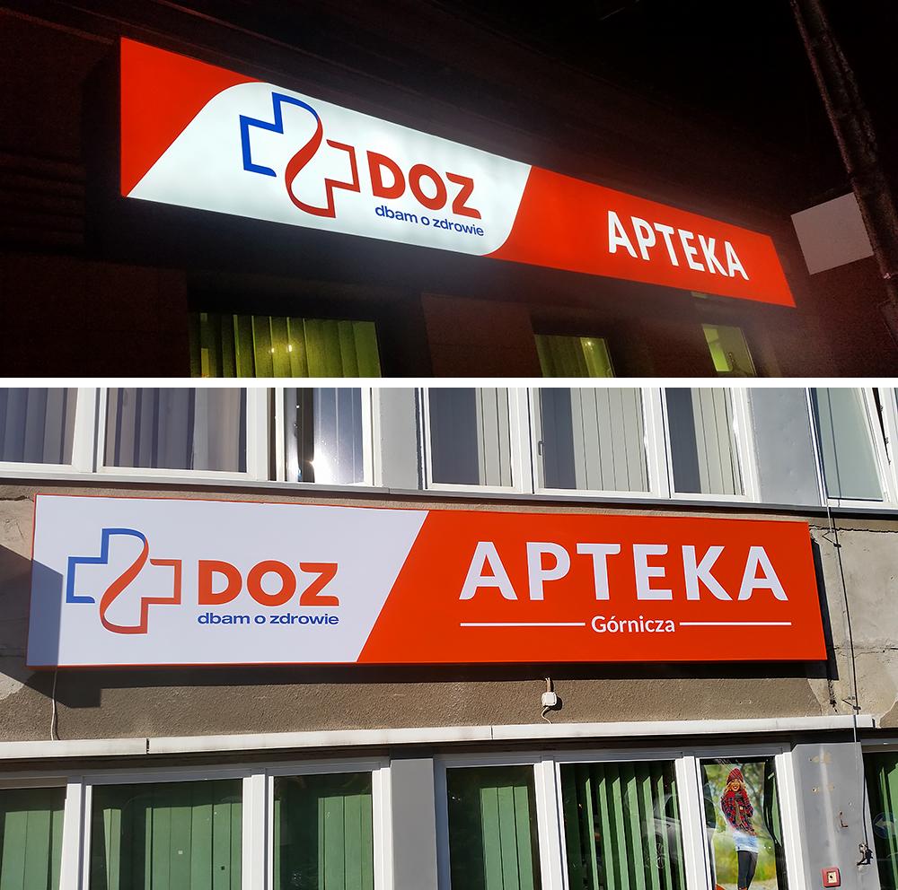 Rebranding kolejnych aptek tym razem w Jaworznie. W ramach naszych prac wchodziło wykonanie i montaż kasetonów świetlnych, liter 3d, wyklejenie witryn itp.