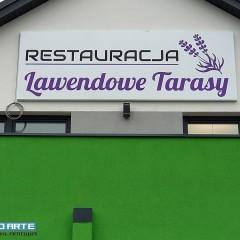 Plafony reklamowe LED oraz litery 3D dla Restauracji Lawendowe Tarasy