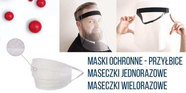 Przyłbice ochronne, maski na twarz – przyłbice i maseczki.
