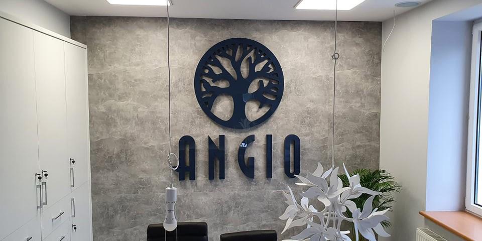 Litery ze styroduru z licem z pleksi (PMMA) dla Angio.