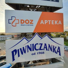 Plansze reklamowe z dibondu dla Apteki DOZ